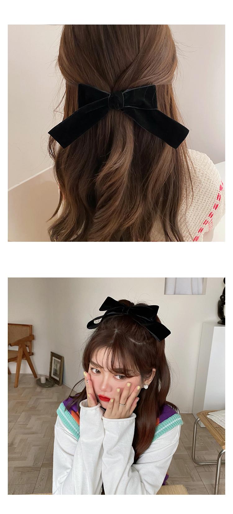 retro black velvet bow hairpin  NHCQ269768