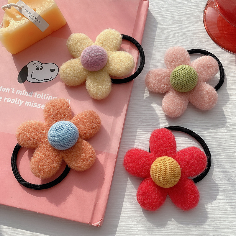 Korea  new fashion  felt flower hair scrunchies  NHCQ269770