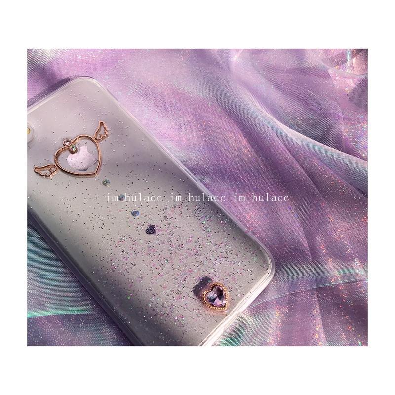 七七`紫色少女夢幻滴膠愛心翅膀手機殼訂製蘋果11pro閃粉iphone12軟xs