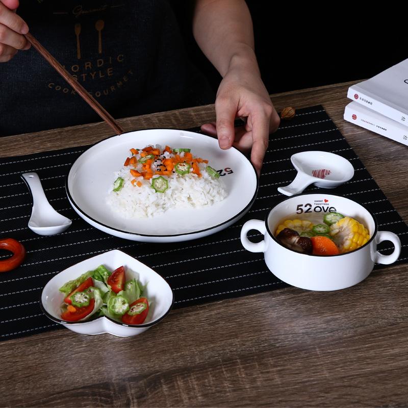 创意北欧西餐盘碟一人食陶瓷牛排餐具家用早餐盘子甜品沙拉碗网红