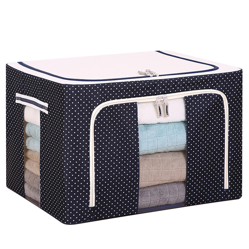 Clothes Storage Box Oxford Cloth Spinning Quilt Bag Fabric Storage Box With  Cover Large Folding Wardrobe Finishing Box