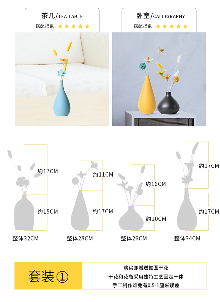 Floret bottle plug-in sitting room dry flower ceramic Nordic light TV ark, contracted and I key-2 luxury porch home furnishing articles