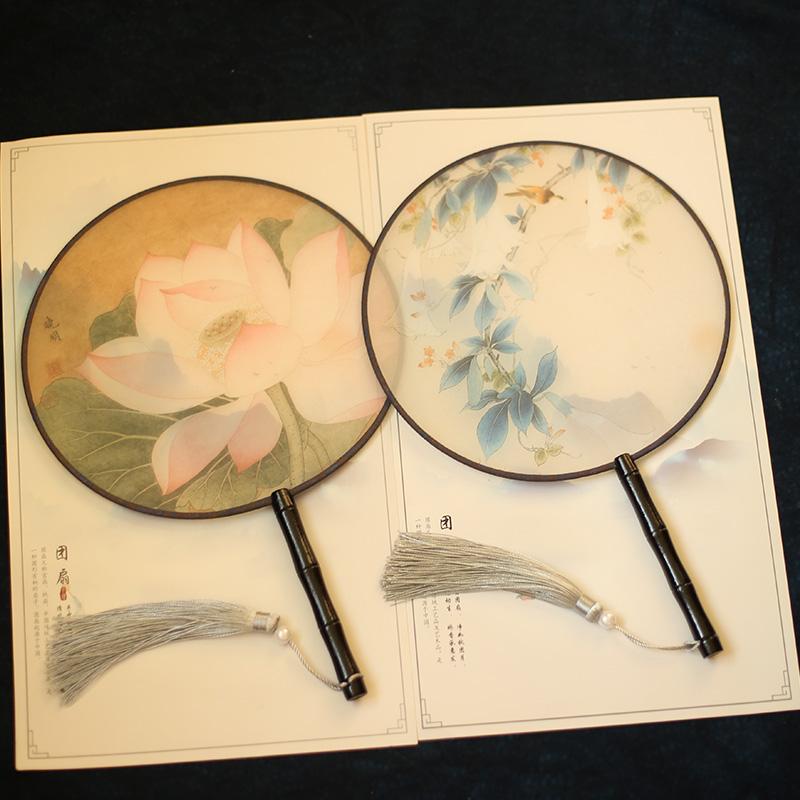 多买多减半透明丝团扇宫扇圆形扇子舞蹈扇中国风古典女式小圆扇