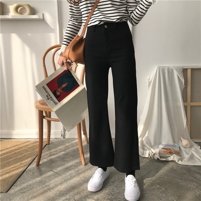 DUTE 2017 autumn Korean women's new chic wild color micro-high-waist slimming slacks students
