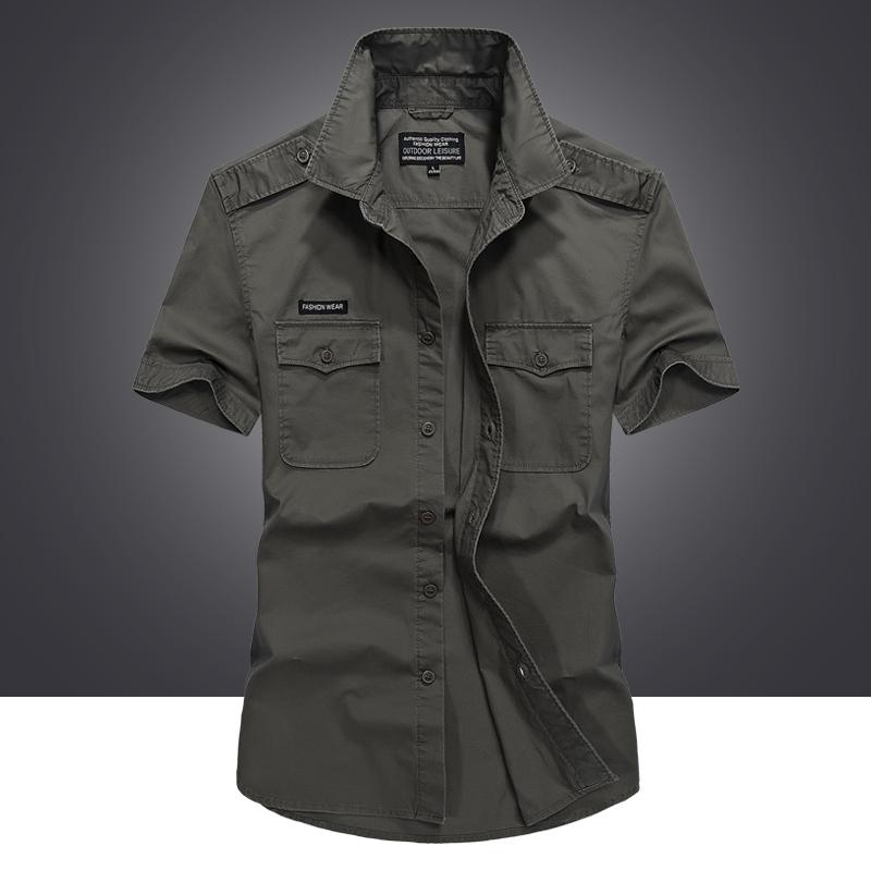 夏季短袖衬衫男士工装宽松大码纯棉户外休闲肩章衬衣半袖军装薄款