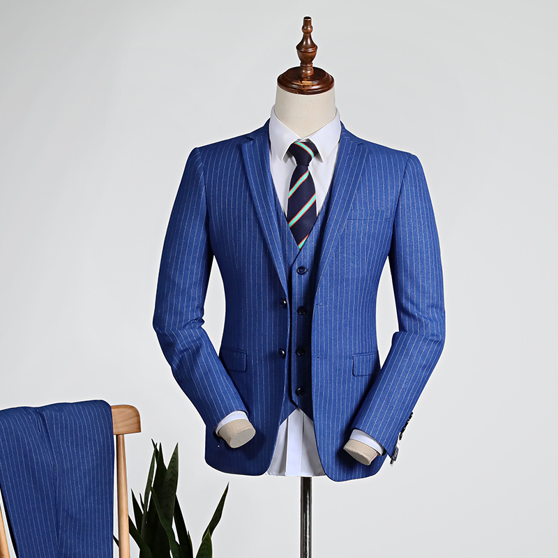 Fashion Blue Stripes [shirt + Vest + Trousers]