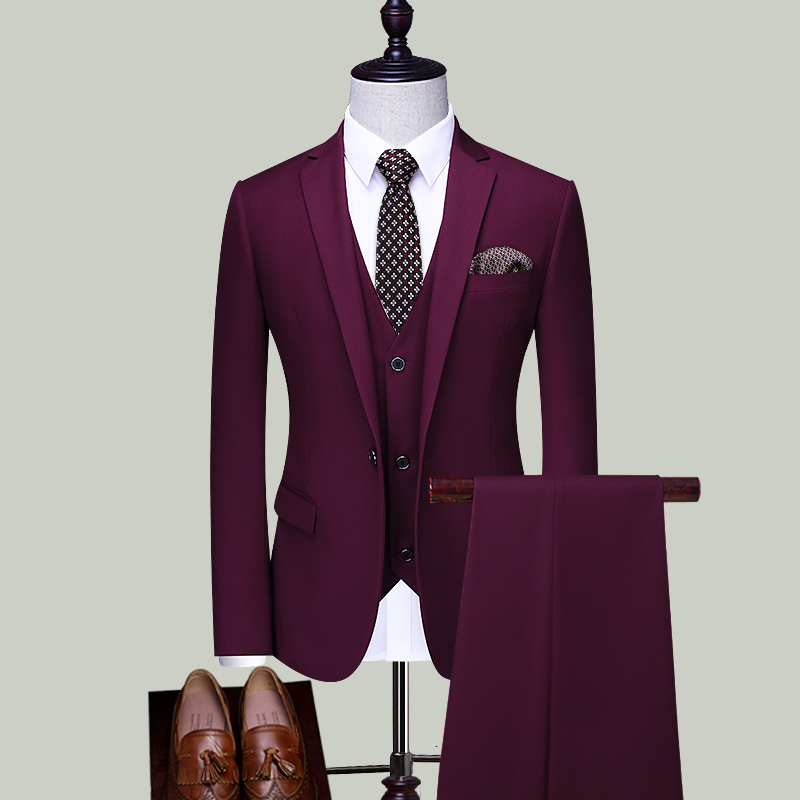 THREE PIECES OF PURPLE RED SINGLE BUTTON (TOP + VEST + TROUSERS)