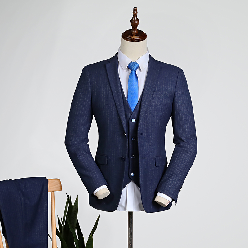 Navy Blue Pinstripe/blue [top + Vest + Trousers]
