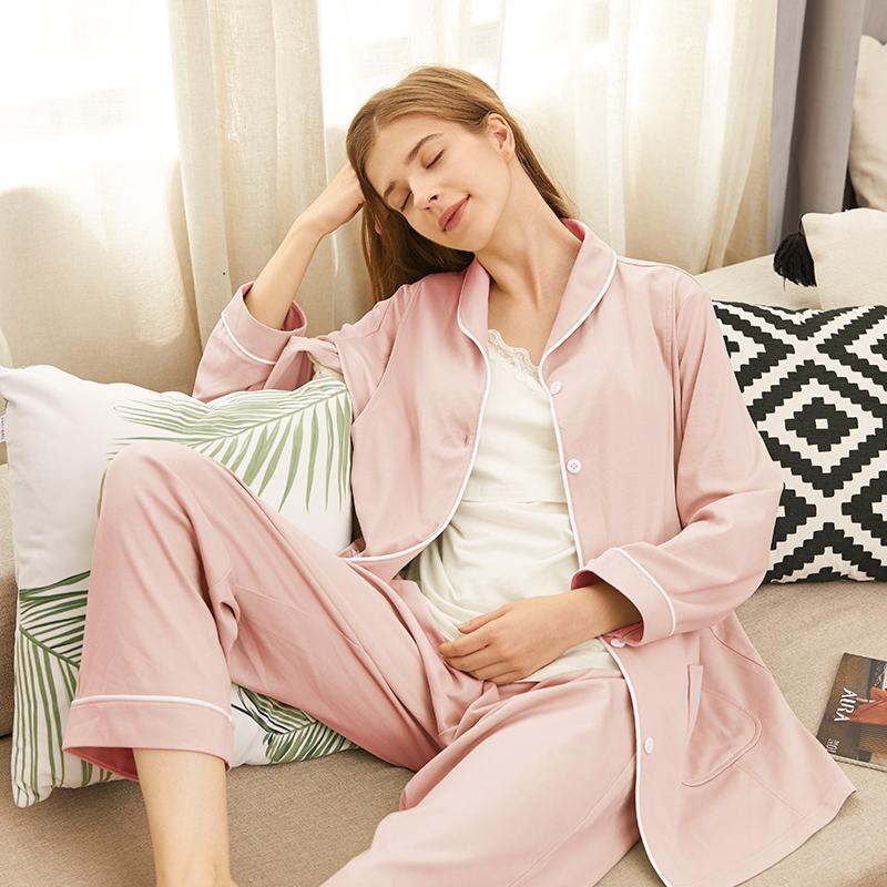 十月皇后月子服孕妇睡衣春秋产后纯棉3月份空气棉哺乳薄款家居服