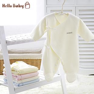 婴儿新生儿连体衣加厚保暖纯棉衣