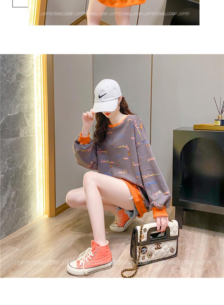 2020 autumn Korean version of the small fresh round collar set head guard dress women's net red loose lazy wind design feel bottom top 48 Online shopping Bangladesh