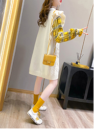 2020 Autumn dress Korean version loose lazy wind round collared women's net red lace stitching age-reducing top port wind coat 41 Online shopping Bangladesh