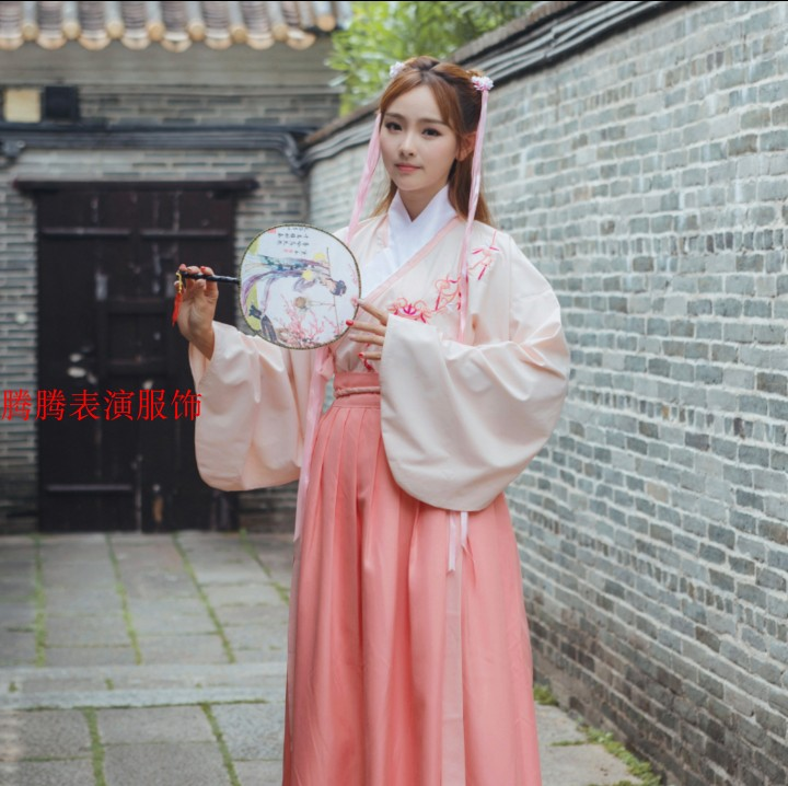 齐胸襦裙女汉服大码仙女改良学生绣花广袖传统清新淡雅中国风古装