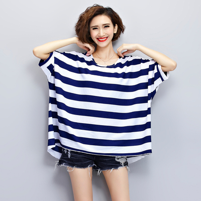 Large size women's 200 pounds fat MM summer was thin chiffon shirt plus fertilizer to increase the size of the navy striped short-sleeved t-shirt tide