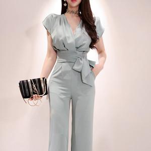7580#新款兩件套2019夏裝韓版氣質V領系帶上衣時尚女褲...