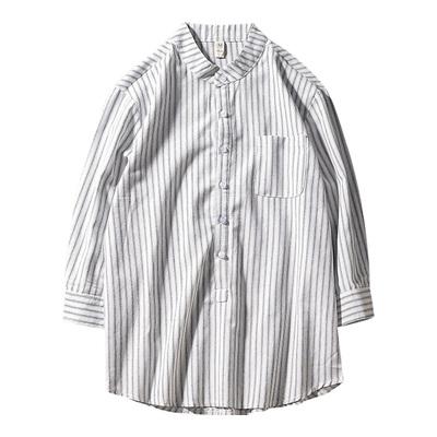 Hàn Quốc phiên bản của đầu mùa xuân mới sọc dọc bảy- điểm tay áo mỏng phần người đàn ông thanh niên lỏng thường xu hướng áo sơ mi áo kiểu công sở đẹp Áo