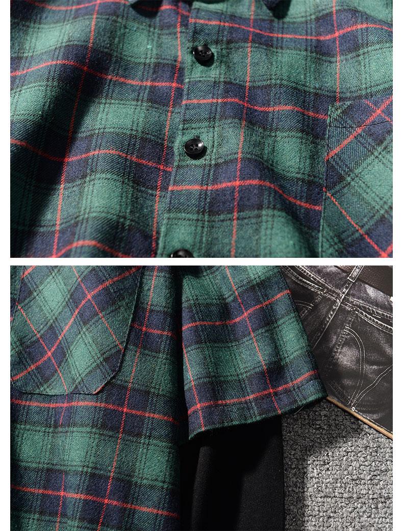 Đầu mùa xuân Hàn Quốc phiên bản của phần mỏng giả hai dài tay áo sơ mi nam lỏng lẻo của kẻ sọc áo sơ mi thanh niên giản dị quần áo áo áo sơ mi nam cao cấp