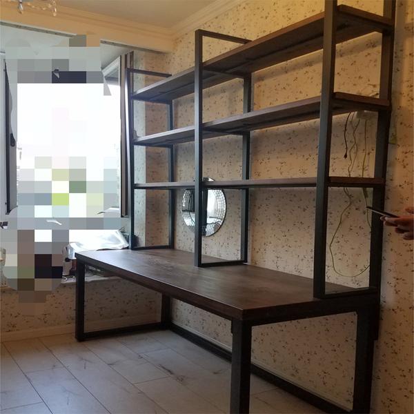 loft实木书桌书架组合书柜一体免打孔家用双人工作写字台式电...