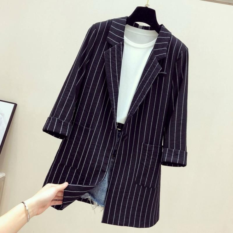 2019春夏新款宽松英伦范黑色条纹小西装外套女中长款薄款休闲西服