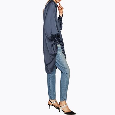 Mùa thu mới Châu Âu và Mỹ thời trang không đối xứng hem lỏng lẻo đơn ngực POLO cổ áo sơ mi nữ ăn mặc Sản phẩm HOT