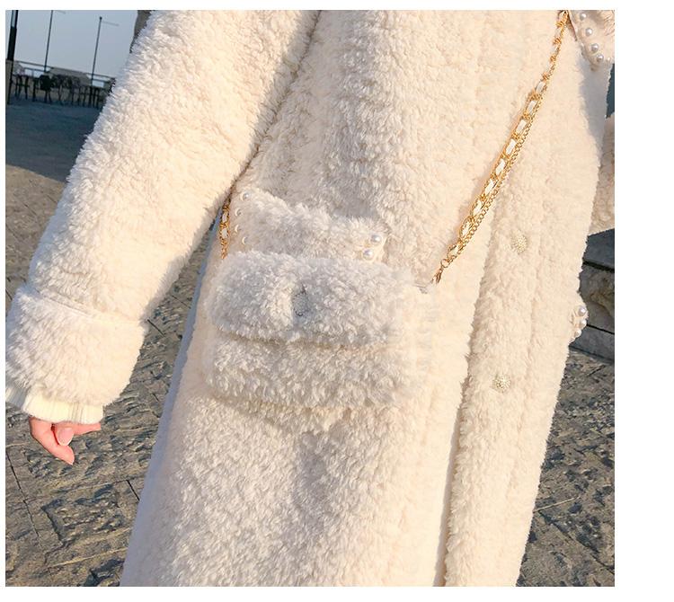 羊羔毛外套女中长版秋冬季百搭羊羔绒皮毛一体年新款加厚大衣详细照片