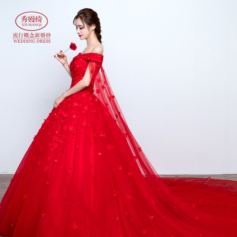 Usd 199 68 Lace Word Shoulder Wedding Tailing Red Light