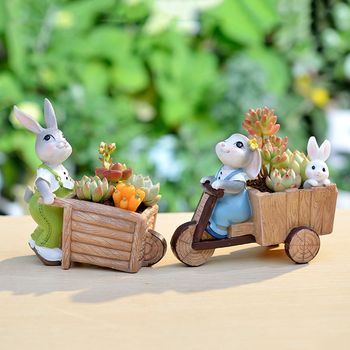 Gardening creative cartoon succulent trumpet flower pot cute rabbit trumpet meat combination potted home decoration
