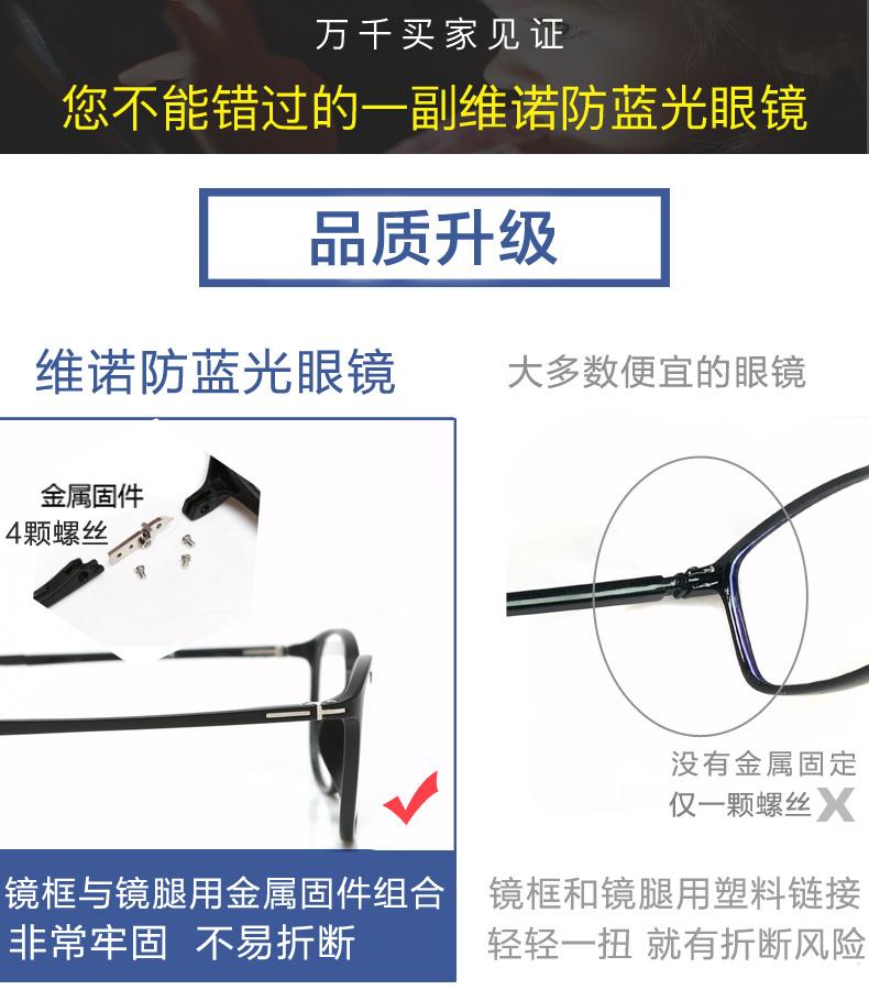 防辐射眼镜框男潮女配近视抗蓝光疲劳手机电脑保护眼睛平面平光镜商品详情图