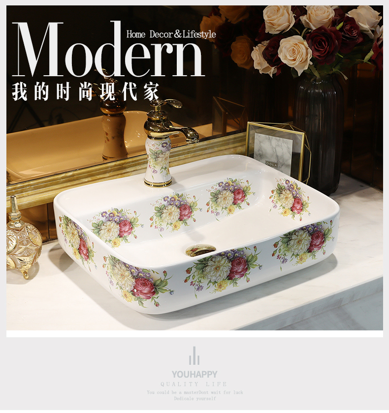 Ou rose stage basin rectangle lavabo home for wash gargle ceramic wash basin to trumpet art on the balcony
