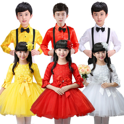 Children's Performance Dress Long Sleeve Girls Princess Skirt Boys and Pupils Chorus Dance Dress Performance Dress