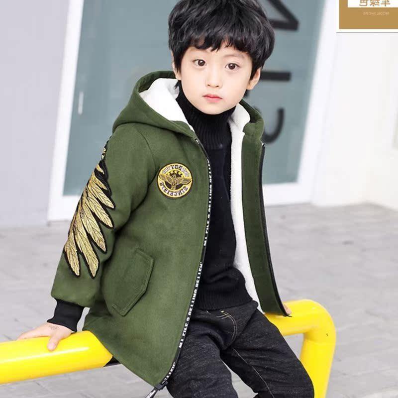 呢子男童毛呢外套冬季男童中长款大衣外套棉服男毛呢中大童儿童潮