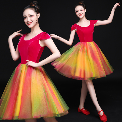 Chinese Folk Dance Costumes Modern Dance Costume Green Fashion Female Adult Square Chorus Short Skirt Suit Performance Costume
