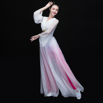 Chinese Folk Dance Costumes Classical Dance Costume Chinese Style Modern Dance Costume Fan Chorus Long Skirt Fairy Adult