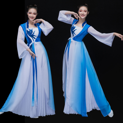 Chinese Folk Dance Costumes Classical Dance Costume Chinese Style Modern Dance Costume Umbrella Dance Narcissus Adult