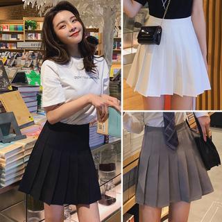 Черный плиссированная юбка женщина лето талия a слово юбка тонкий юбка институт ветер серый , белый цветная юбка женщина весна, цена 1034 руб