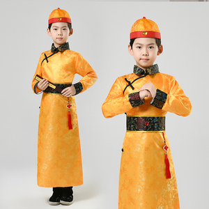 Children chinese ancient Qing dynasty performance clothes for boy Manchu the little emperor of Qing Dynasty Prince dragon robes for boys