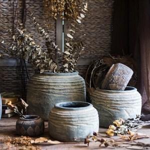 掬涵 非洲艺术老罐 复古工艺水泥罐坛子花瓶花盆花器民族风