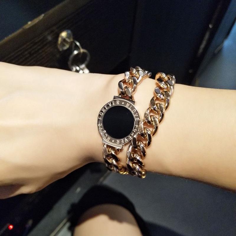 玫瑰版首饰夸张时尚镀欧美金粗链圆牌手链女潮手环日韩两用钛钢品