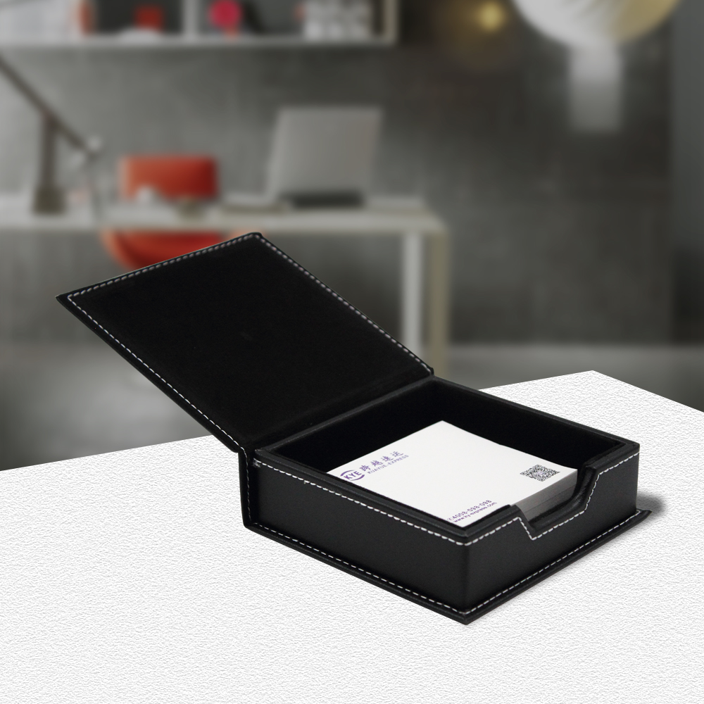 USD 16.88] High-end business leather sticky notes box holder paper ...