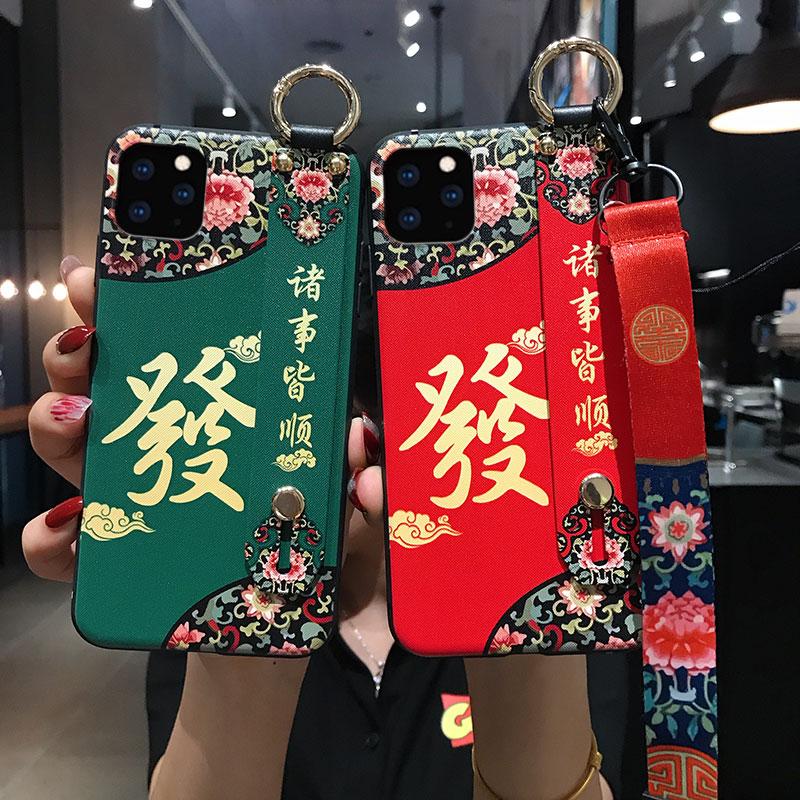 iPhone 11pro max手机壳11个性11pro中国风xs创意腕带xr支架x网红女款苹果8plus挂绳7潮牌6s防摔壳