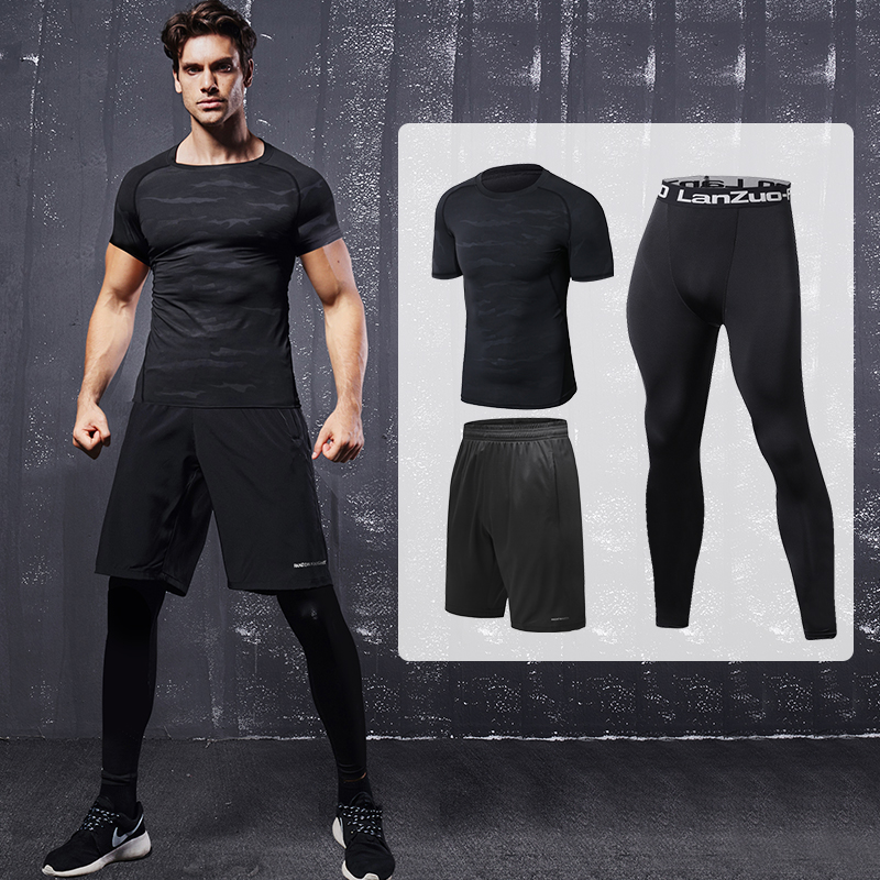 d9c49b5f7141 Basketball tight clothes fitness clothes men compression speed dry running  pants seven T-shirt training shorts suit clothing