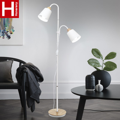 Hongliang double head lanter sofa living room floor lamp bedroom bed eye eye protection LED remote control simple