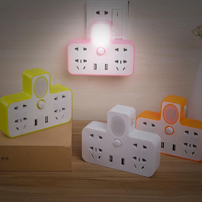 家用插座转换器一转二三四多功能转换插头usb插排插板带夜灯无线