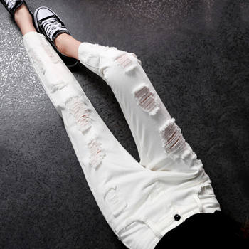 White hole jeans female 2020 spring new female high waist pants rotten beggar pants female was thin pants nine points Daddy