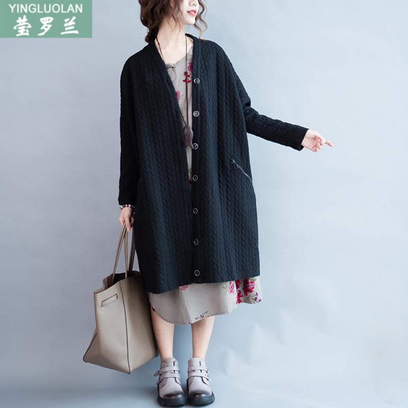 韩版秋装文艺中长款开衫外套大码女装上衣200斤胖mm宽松显瘦衣服