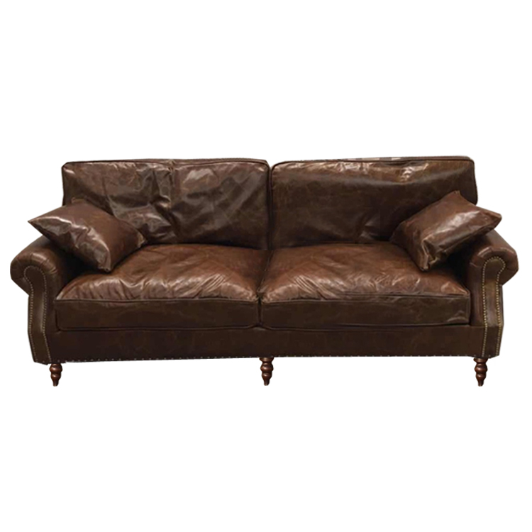 American country retro oil wax leather sofa LOFT industrial old feather  down single double three-seat sofa