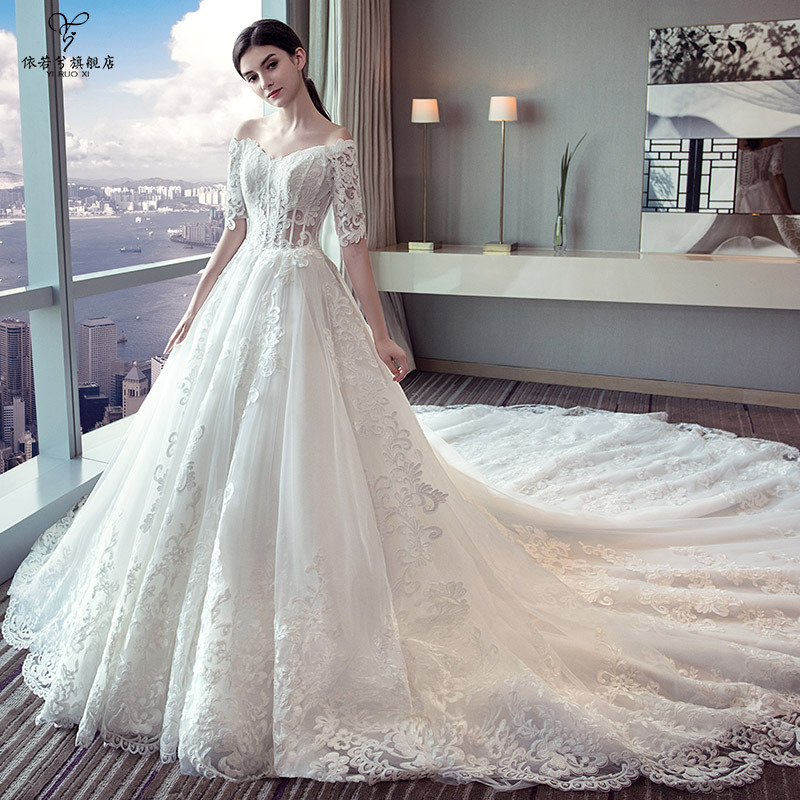 Wedding dress bride 2018 summer new palace word shoulder luxury long ...
