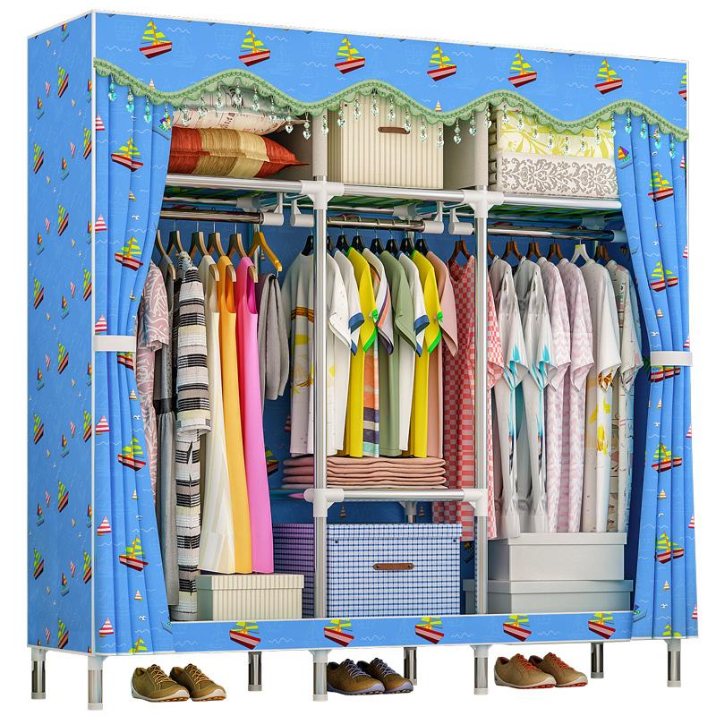 衣柜加粗加固钢管收纳组装布衣柜(用15元券)