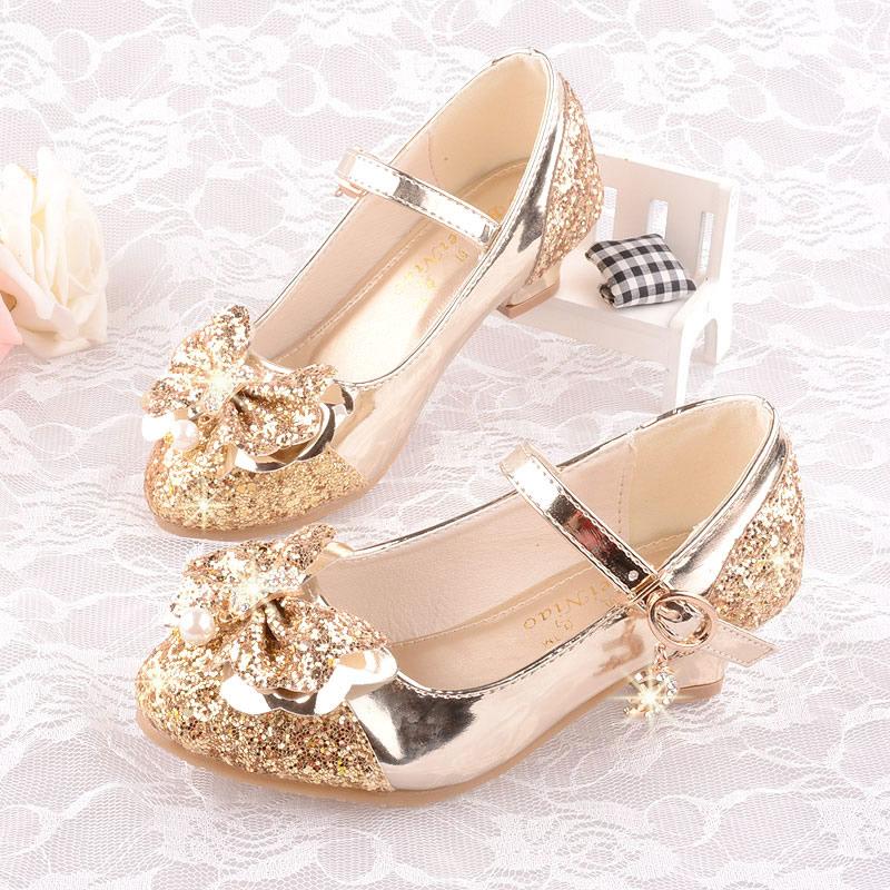 8c488045 На девочку для маленькой принцессы кожаная обувь Модельный конкурс детские  башмак на высоком каблуке популярный туфли