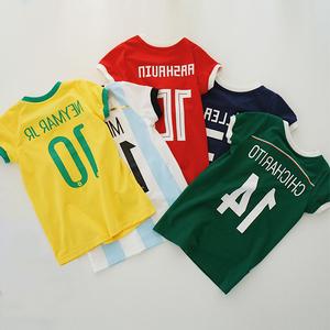 Bé quần áo trẻ em 2018 World Cup quần áo bóng đá cha mẹ và con mặc Chen Chen Ma trẻ em của T-Shirt nữ bé ăn mặc